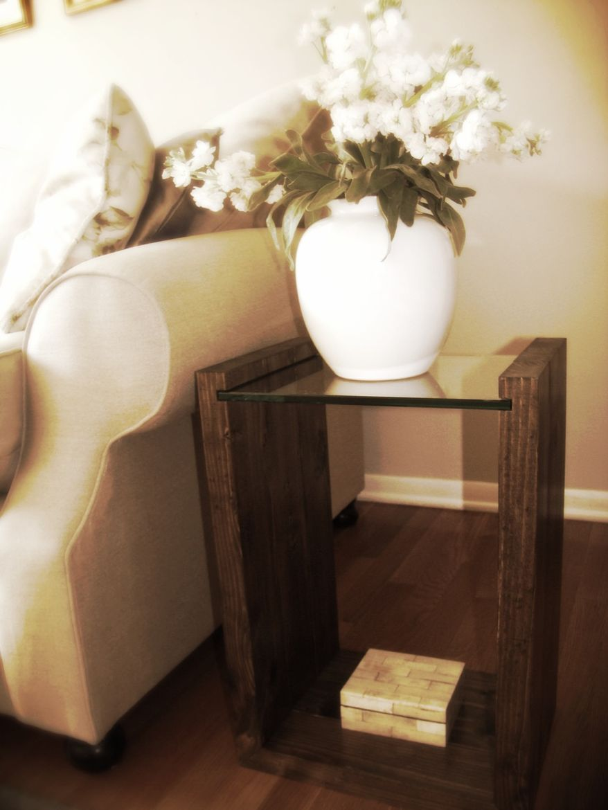 Micky Dolenz and Daughters walnut end table.