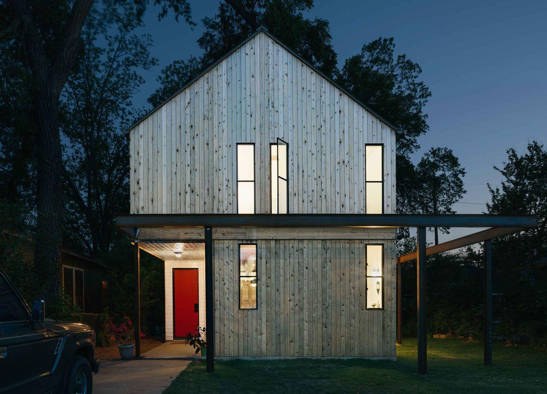 Austin home with red front door