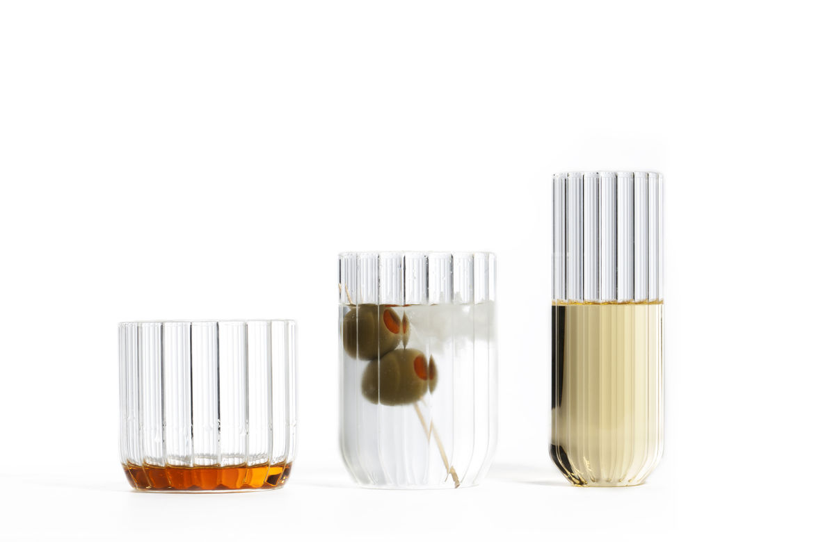 Cylindrical glassware collection made of fluted borosilicate glass
