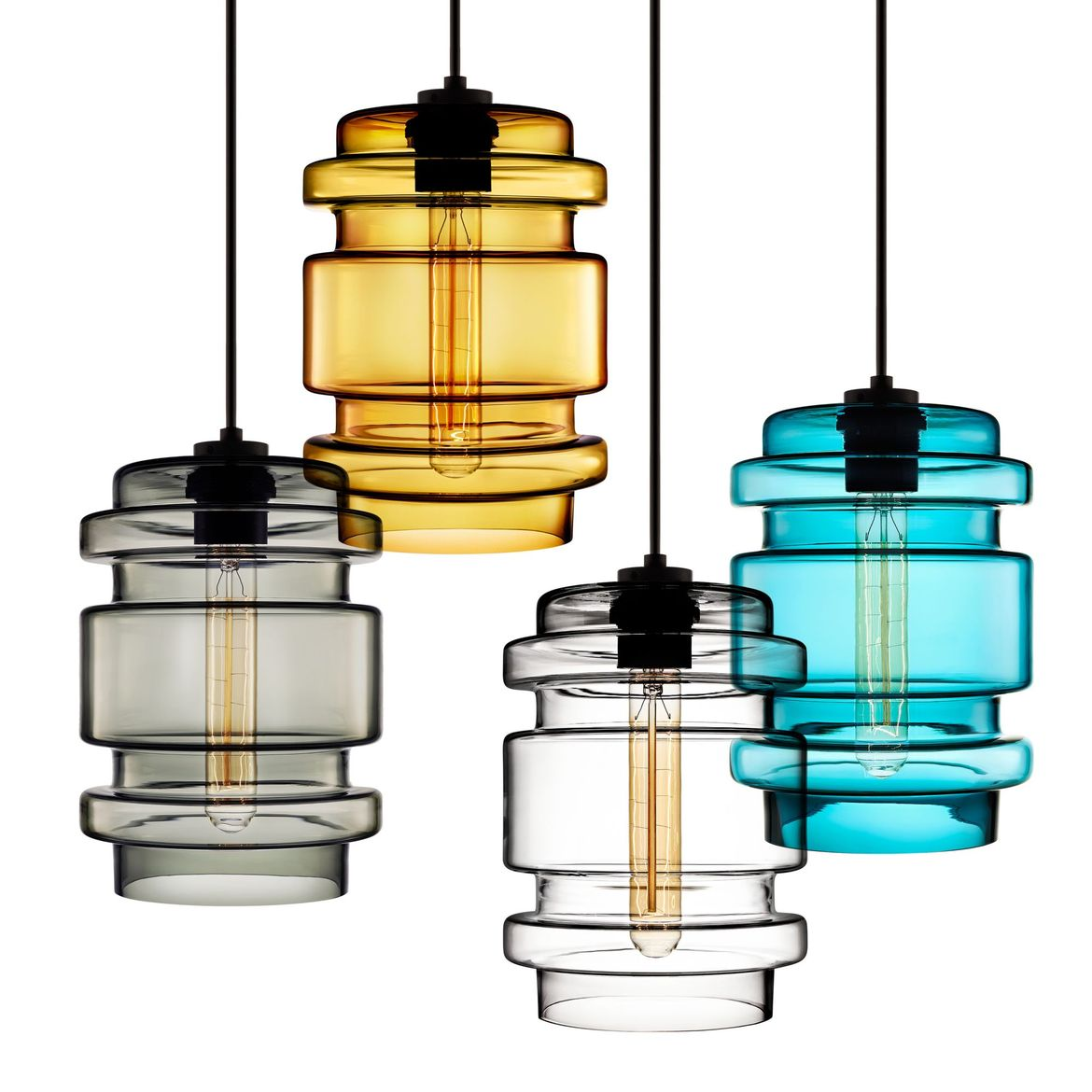 Sculptural and angular pendant light made from handblown glass