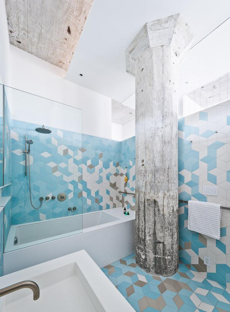 Exposed concrete column in a Brooklyn bathroom