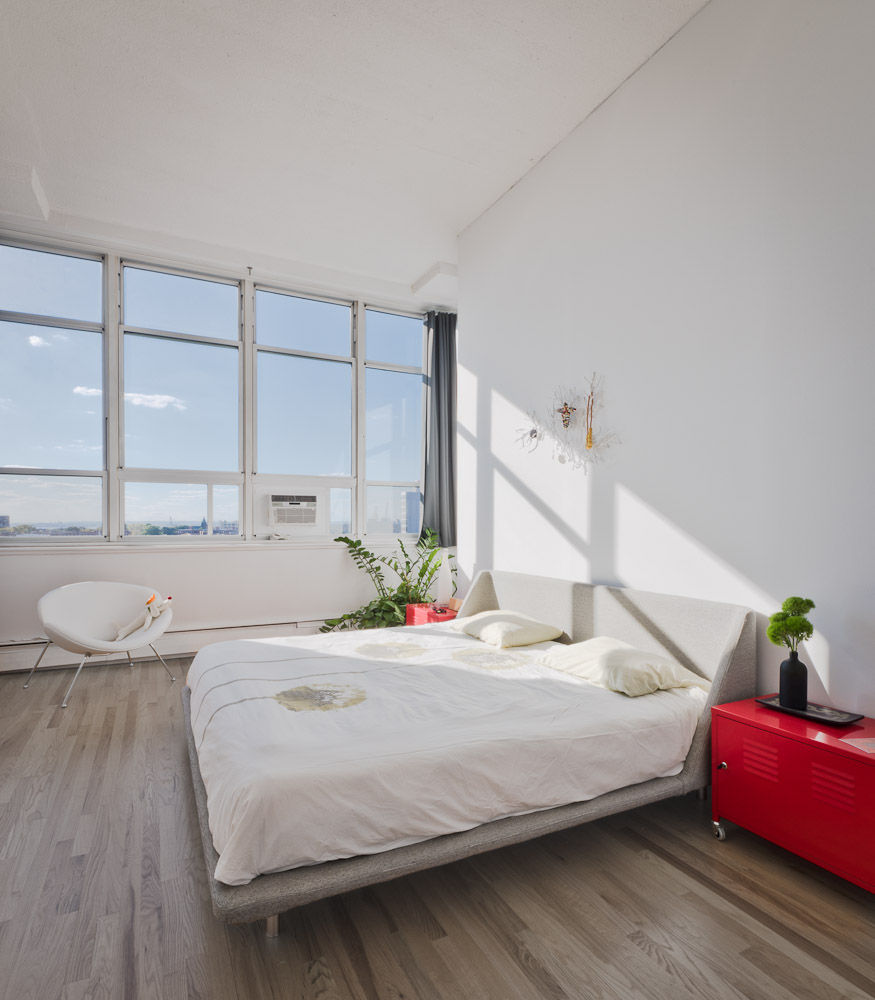 Brooklyn master bedroom with large windows