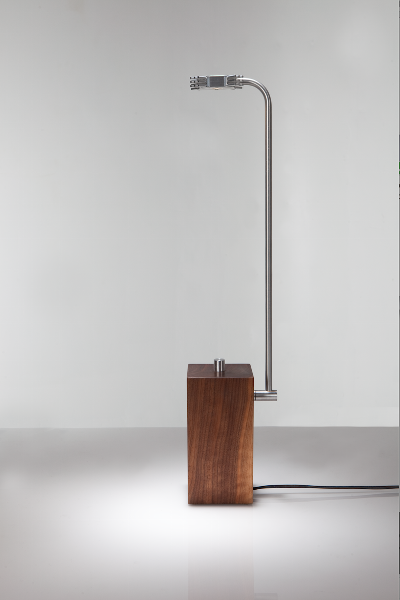 Distinctive table lamp with solid walnut base