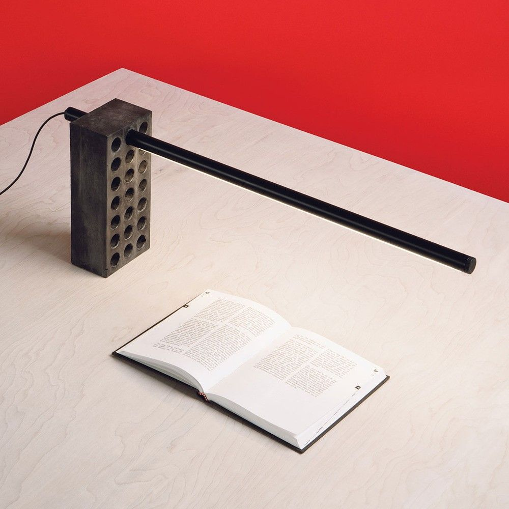 Industrial table lamp comprised of a brick and LED light