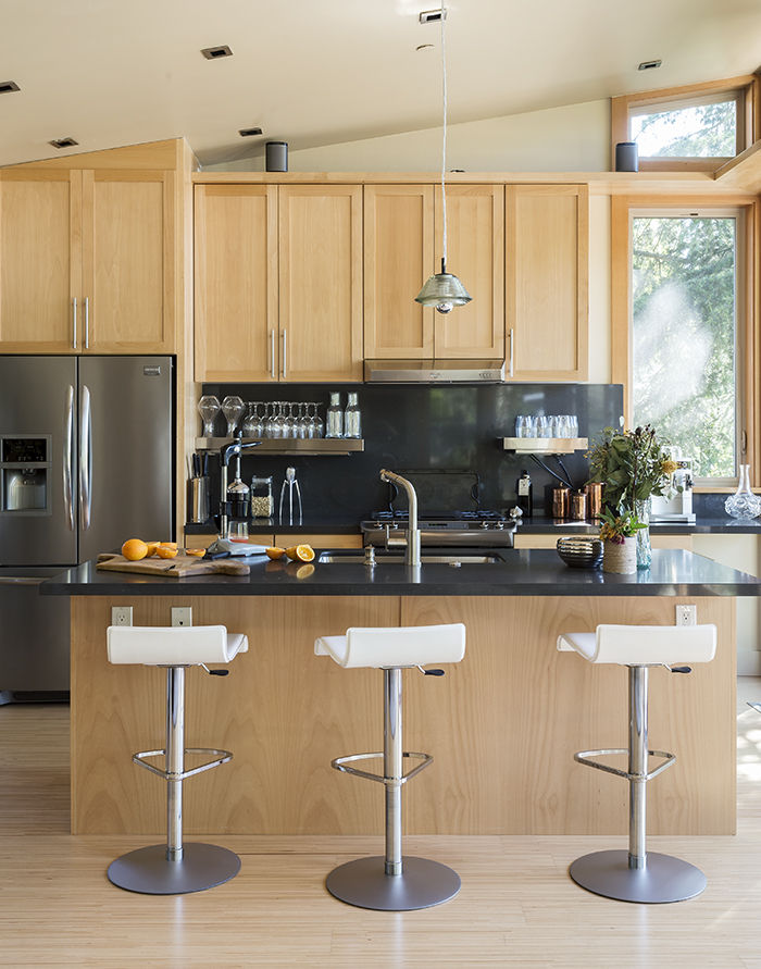 Kitchen island bar in the Stillwater Dwellings prefab in Napa