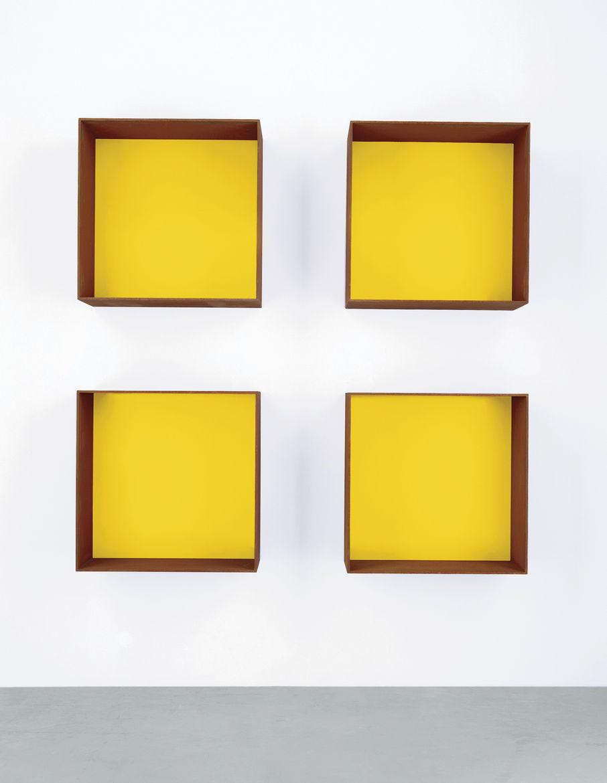 Donald Judd's yellow Cor-Ten sculptures at David Zwirner Gallery.
