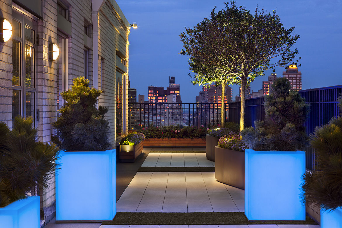 Glowing planters atop a Manhattan penthouse