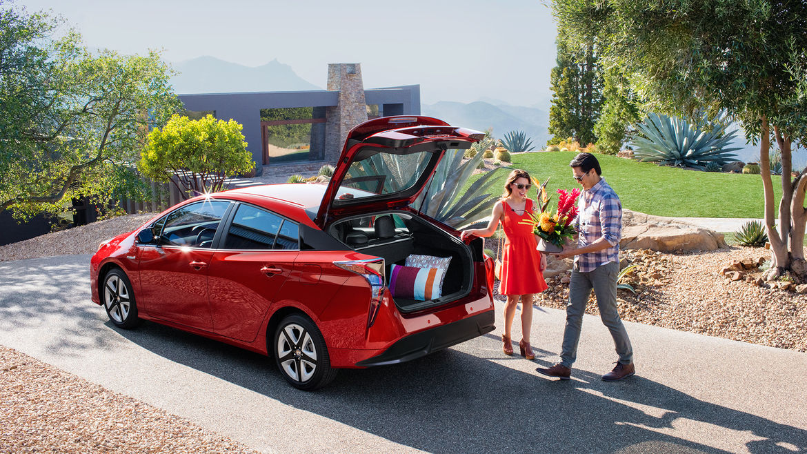 The large cargo space of the 2016 Toyota Prius.