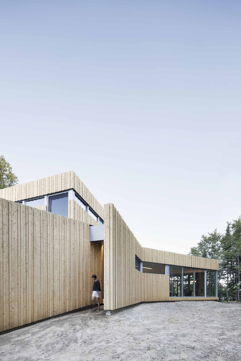 Lake house with a concealed doorway