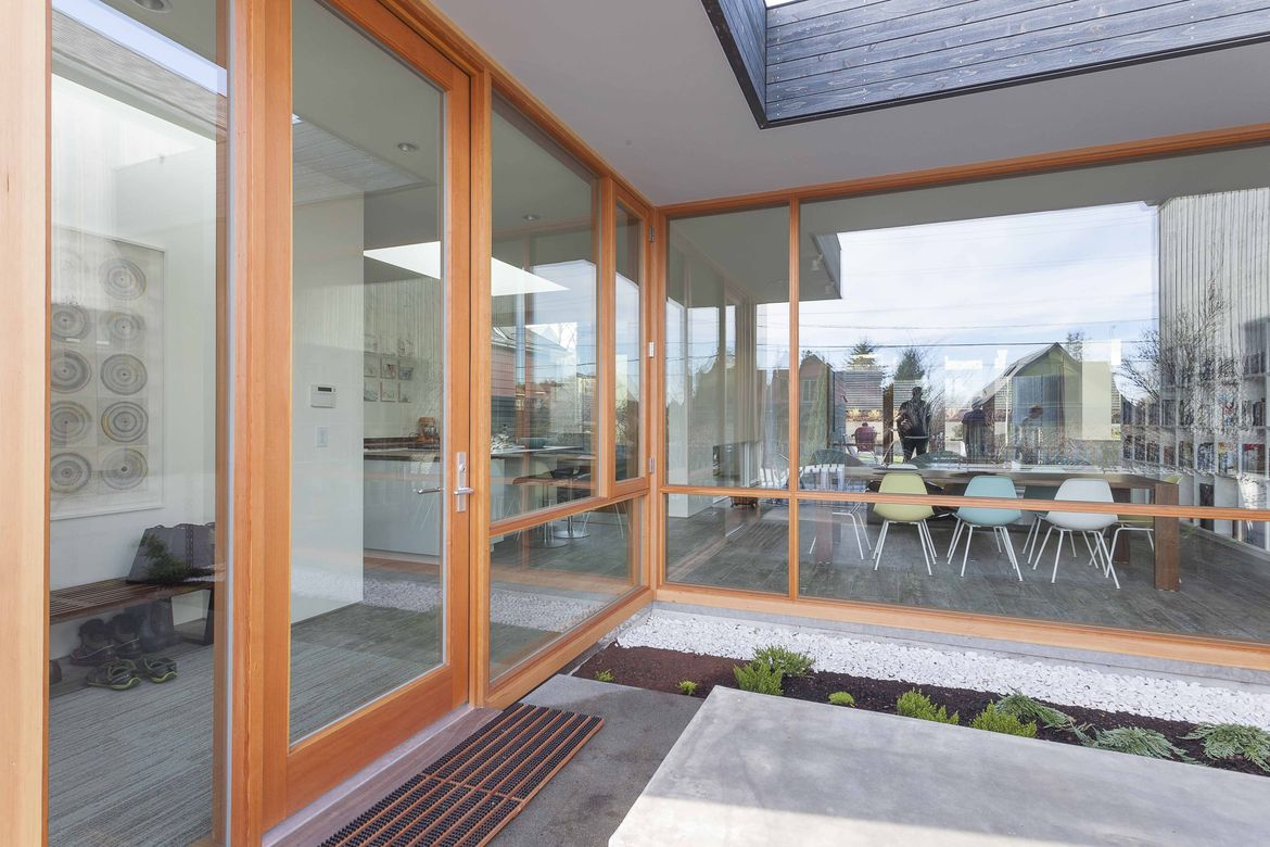 Glass entryway to a Seattle home