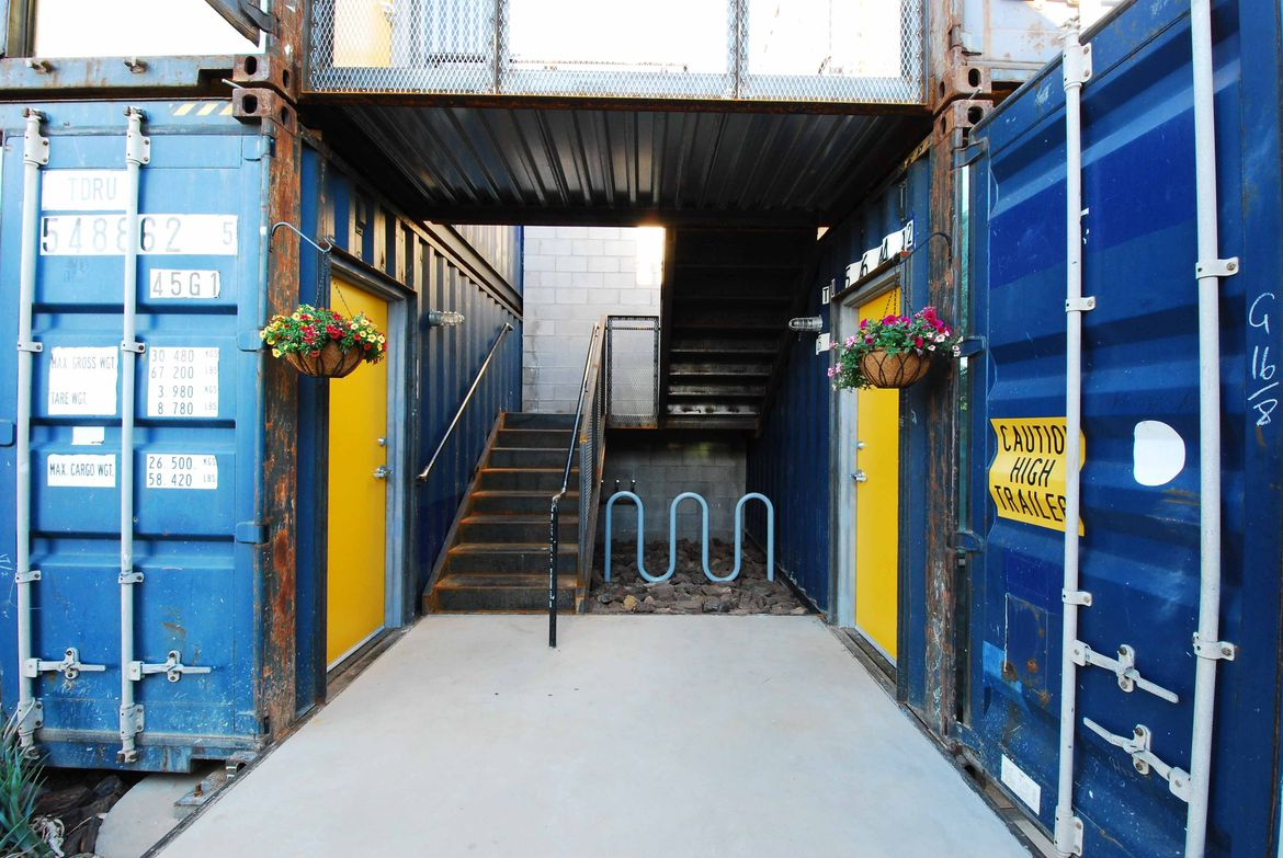 Containers on Grand exterior staircase