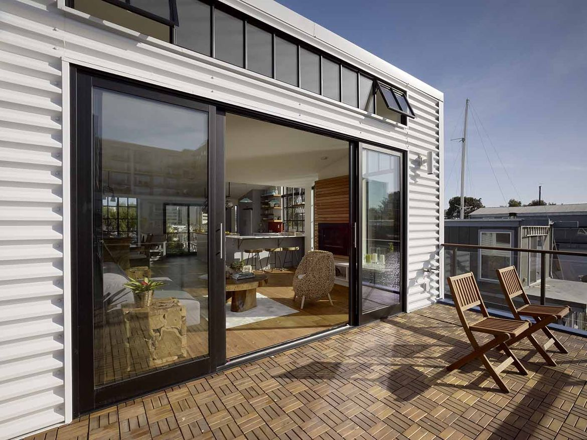 San Francisco floating home teak deck