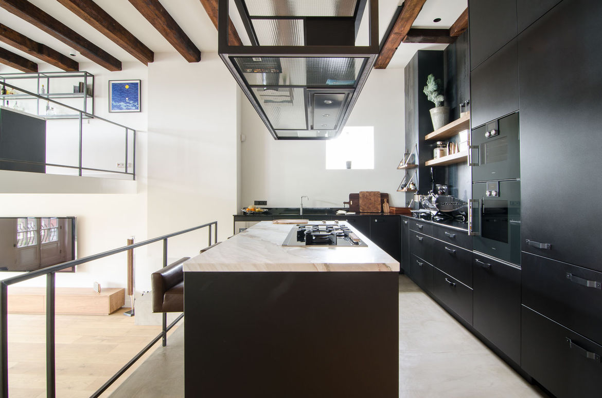 Amsterdam kitchen with hot-rolled steel cabinetry