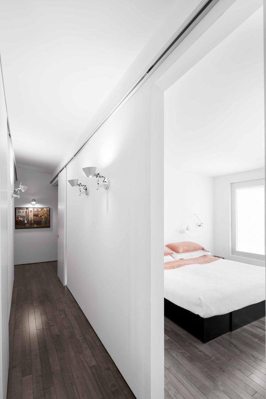 Montreal bedroom with walnut flooring