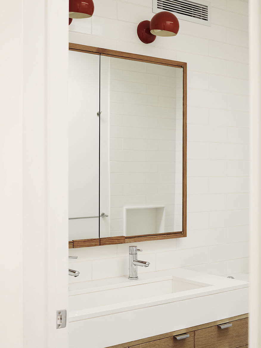 Brooklyn bathroom with salvaged wood finishes