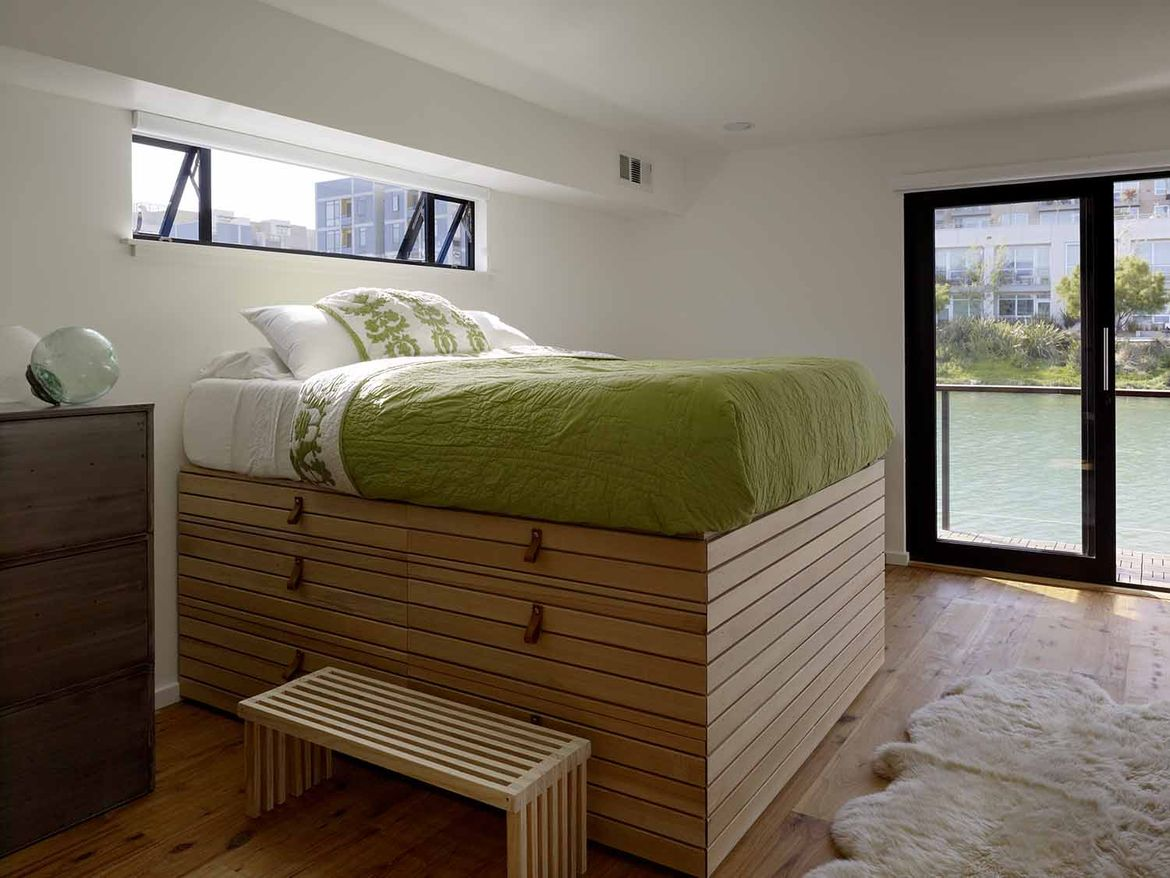 San Francisco floating home bedroom
