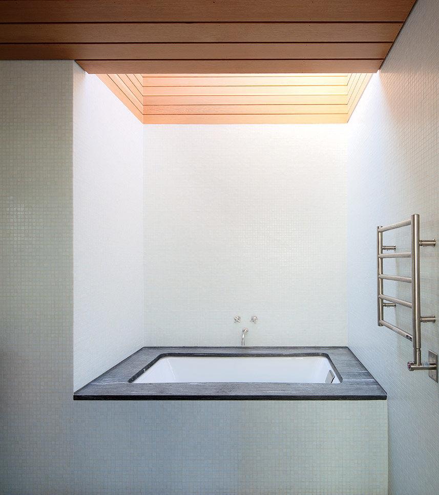 Martha's Vineyard prefab master bathroom with skylight