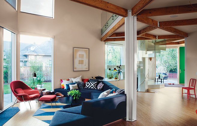 Modern prefab modular and triangular home by HOMB in Portland living room with custom sofa