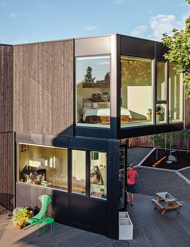 Modern prefab modular and triangular home by HOMB in Portland master bedroom facade