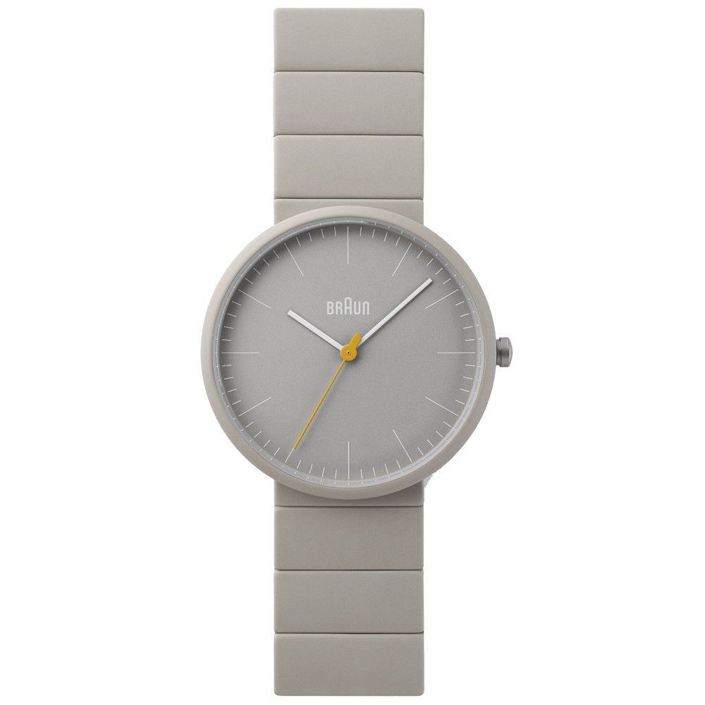 Grey all-ceramic watch with yellow second hand