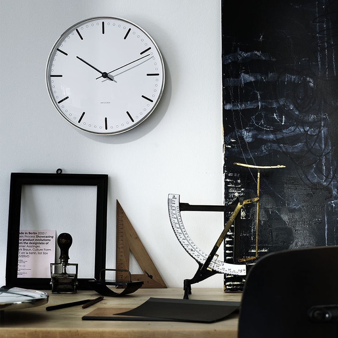 Classic wall clock with monochrome palette