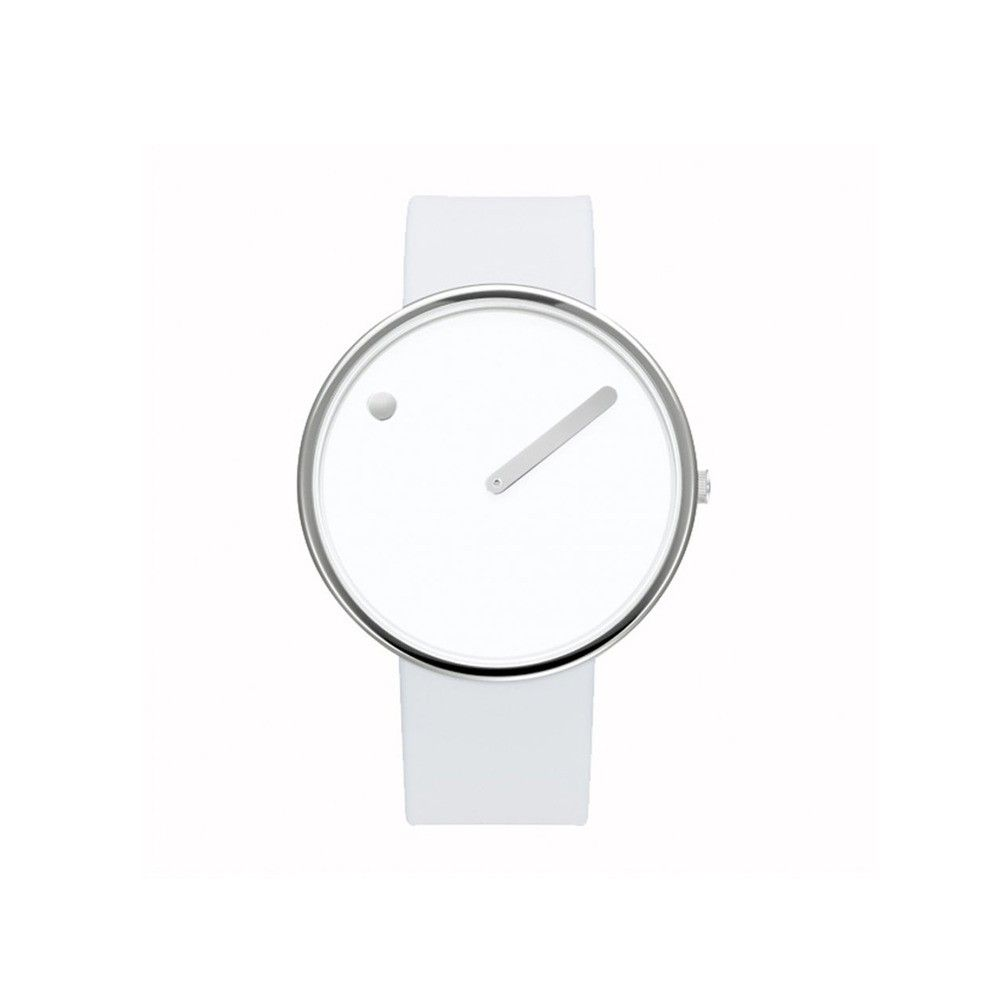 Sleek all-white watch with stainless steel case