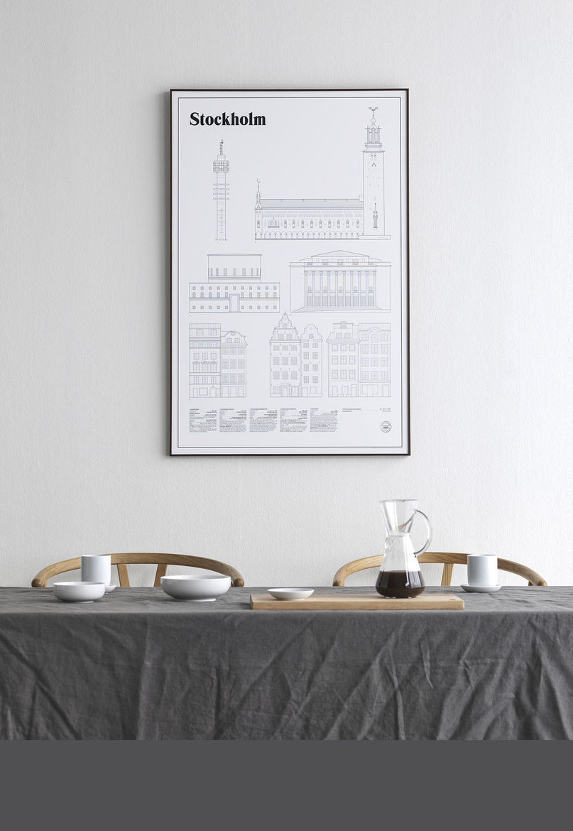 Sophisticated architectural print of Stockholm, Sweden