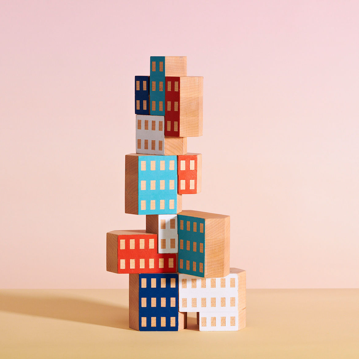 Colorful hand-painted building block set