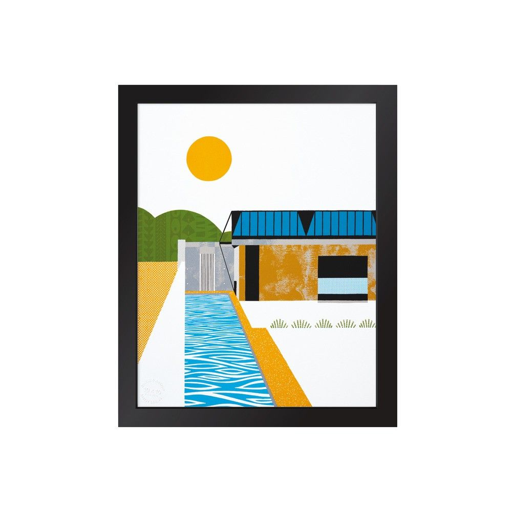 Colorful art print of modern house and pool