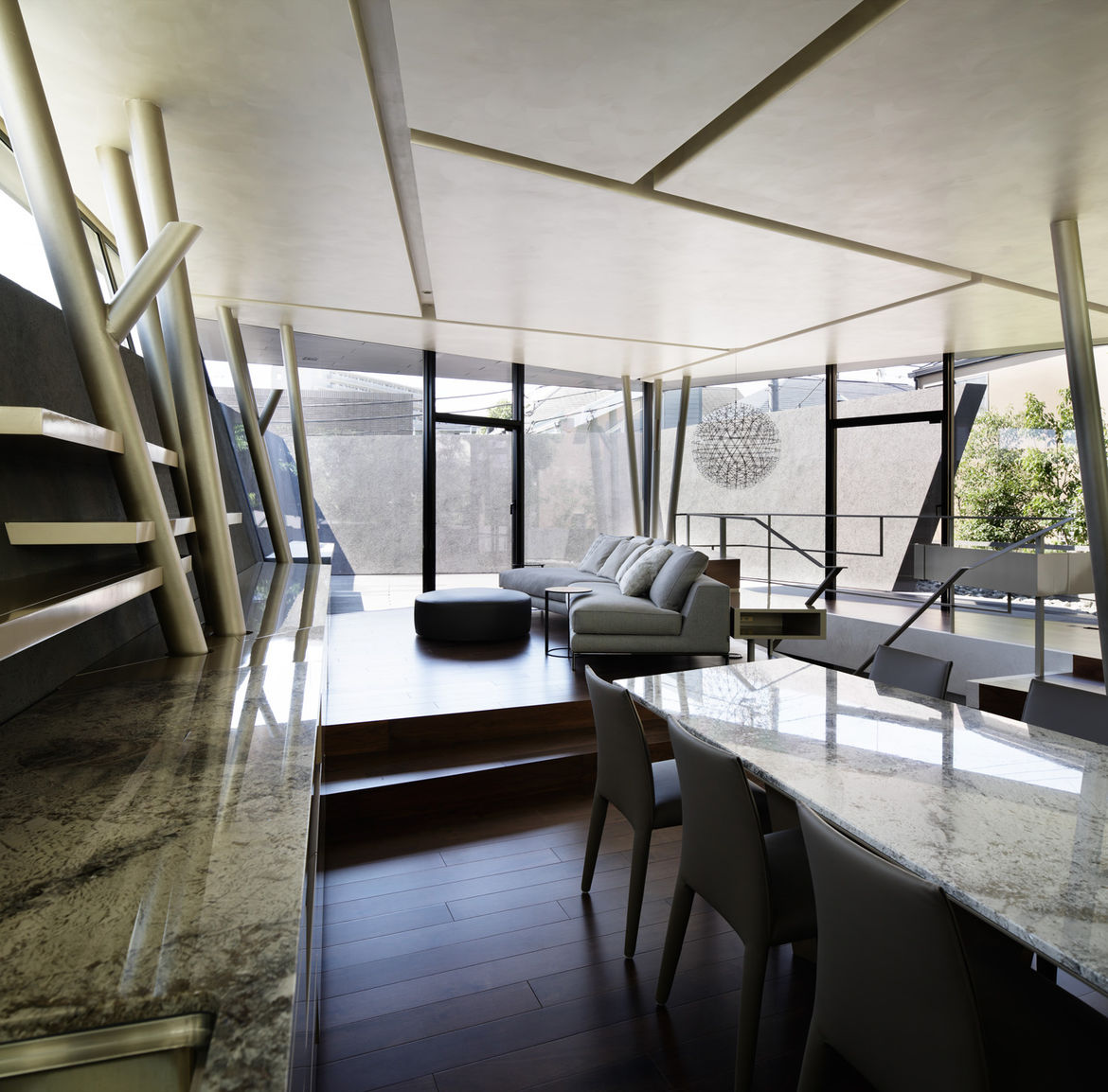Dining room with Vol au Vent chairs by Mario Bellini in Tokyo home by Artechnic.