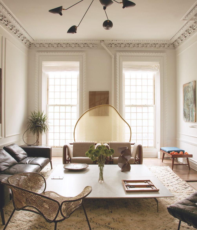 Rashid Johnson's Manhattan home, with Brazilian modern pieces by Joaquim Tenreiro and the Campana Brothers.