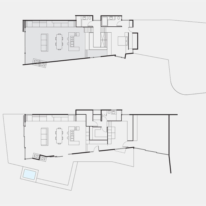 Floor plans of a modern Sea Ranch home