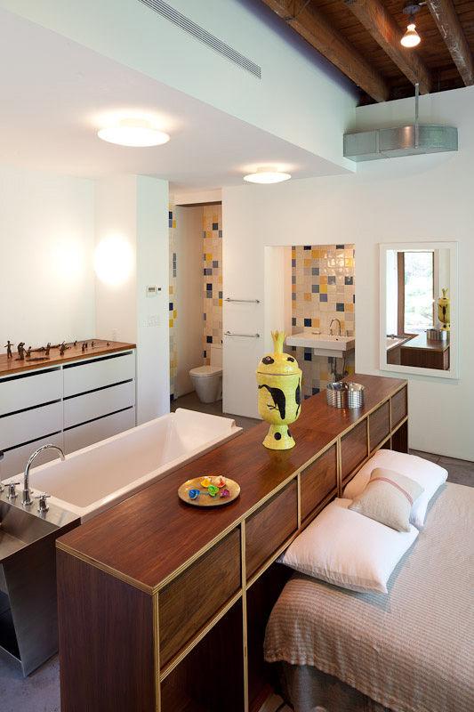 Brooklyn Artist Studio Bedroom Open Bath