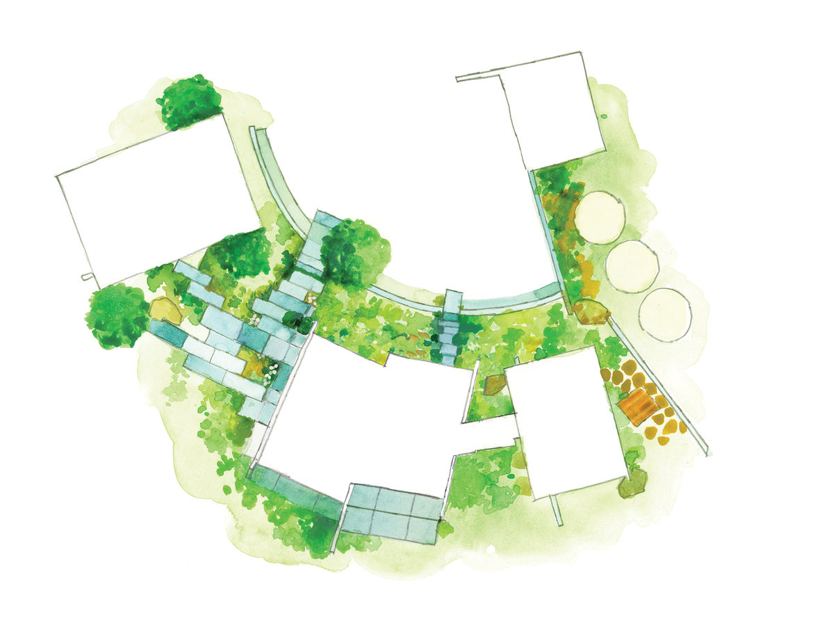 Site landscaping plan for modern eco-conscious pavilion in California by Feldman Architecture with oak tree.