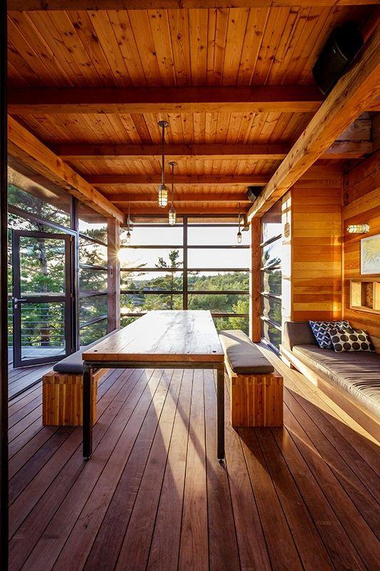 Charles Gane cottage dining room Douglas fir table.