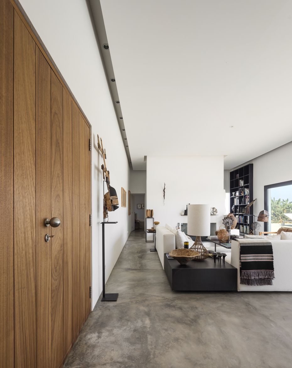 Living room with concrete floors in a Portugal weekend house