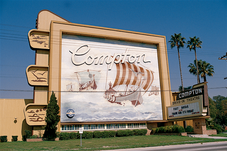 """Compton Drive-In Theater, Compton, 1977, Kodachrome image from the Charles Phoenix """"Slibrary"""" Collection."""