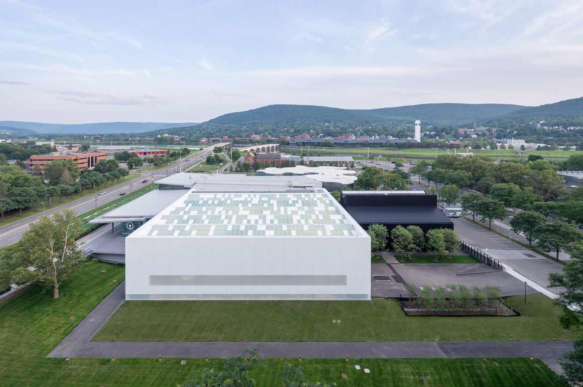 Exterior view of the Contemporary Art + Design Wing at the Corning Museum of Glass