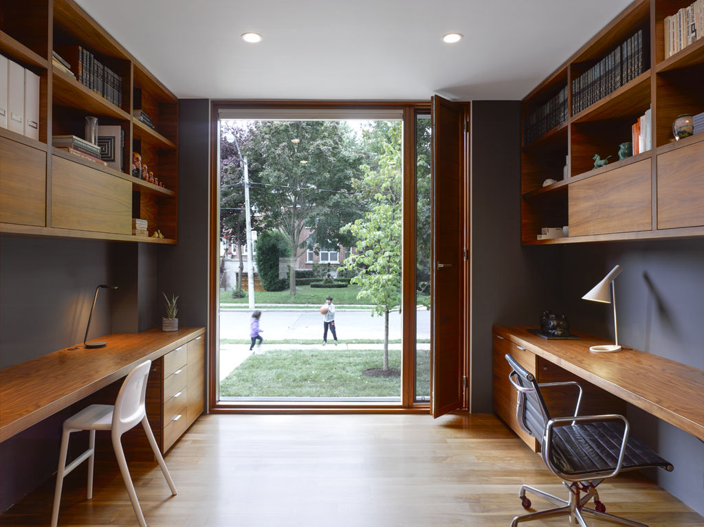 Walnut office with an Eames chair