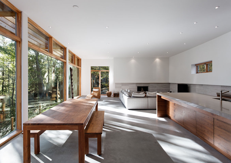 Minimalist interior in a Georgian Bay, Ontario, house