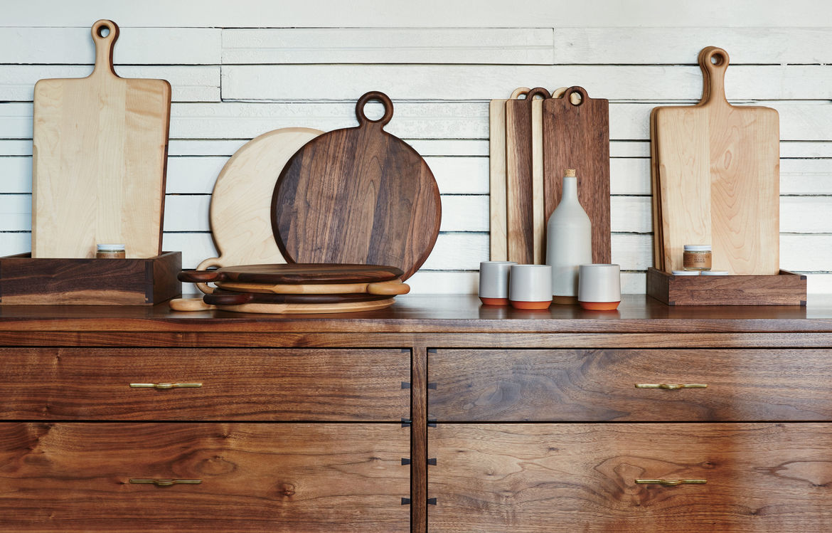 Marrow Goods cutting boards and credenza, along with Mazama Wares serving set, at Beam & Anchor shop in Portland.