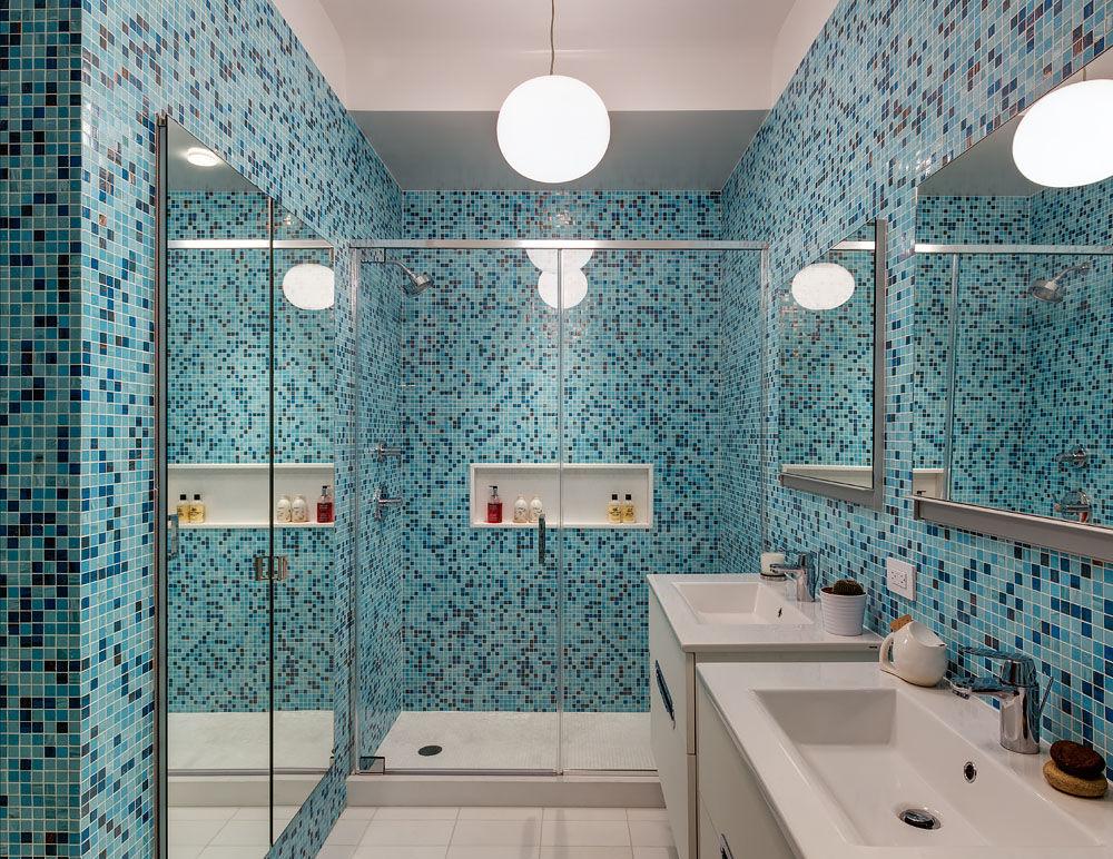 Blue mosaic tiled bathroom