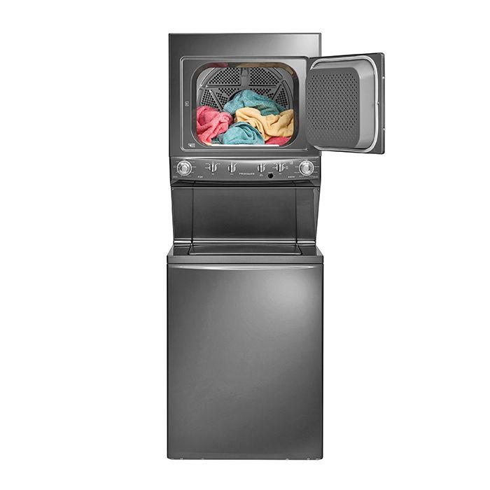 Modern energy efficient kitchen appliances like Frigidaire laundry center slate
