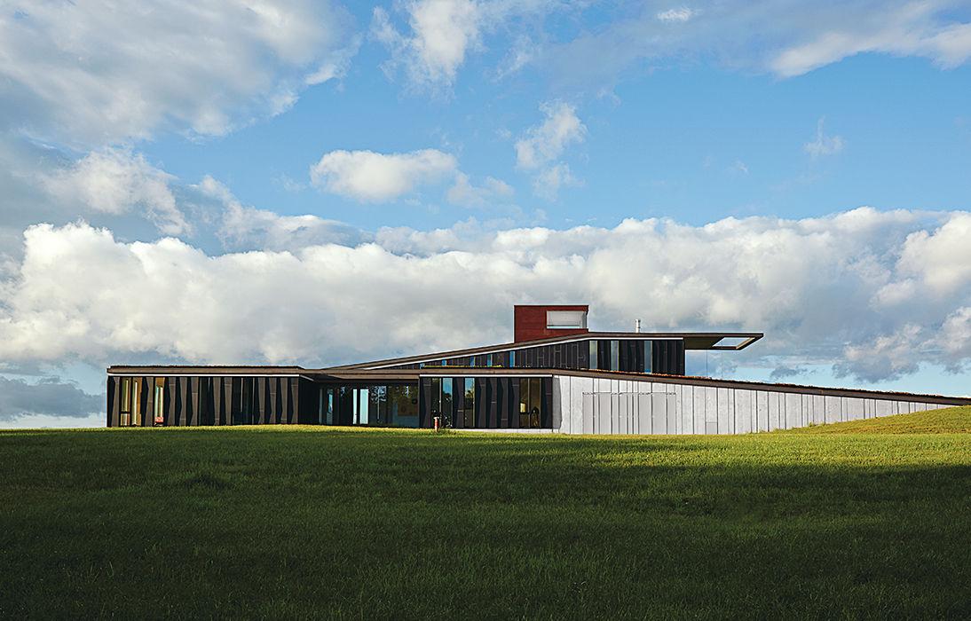 El Topo aluminum facade and green roof.