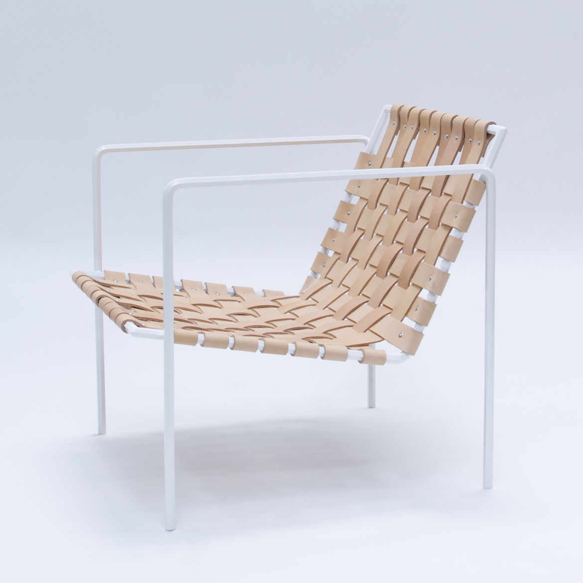Powder-coated steel and leather woven chair