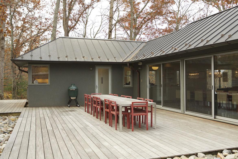 modern dining table ipe wood deck