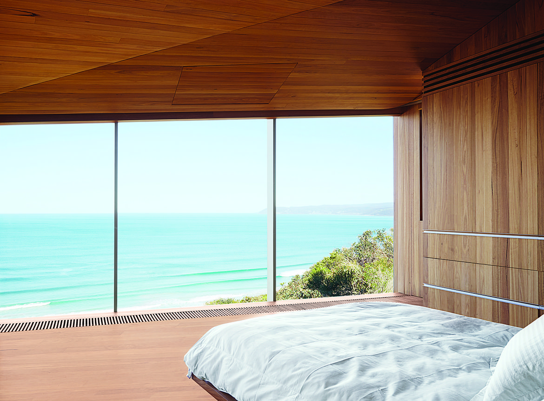 modern fairhaven beach house blackbutt eucalyptus master bedroom