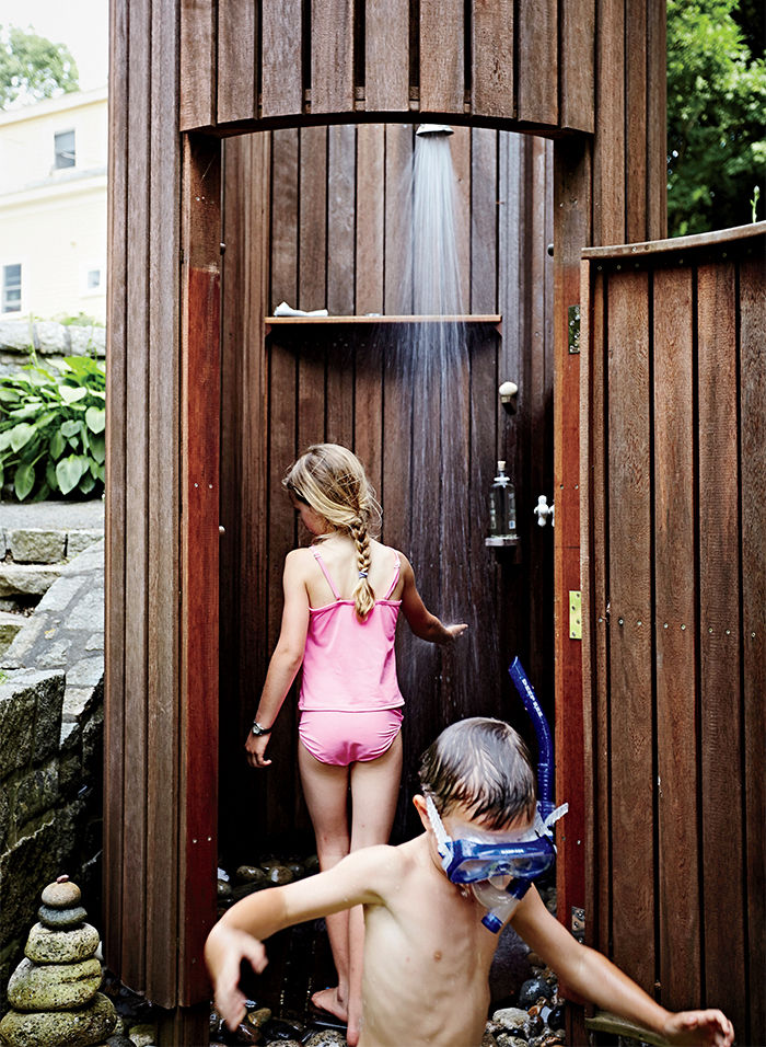 Outdoor shower at a Massachusetts home