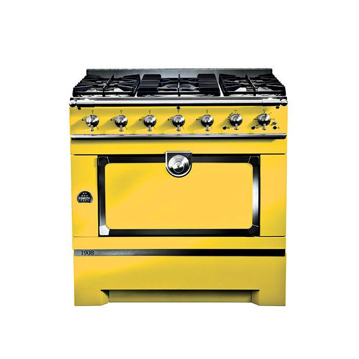 Modern kitchen appliances that come in a range of colors like the Cornufe 1908 by La Cornue in yellow