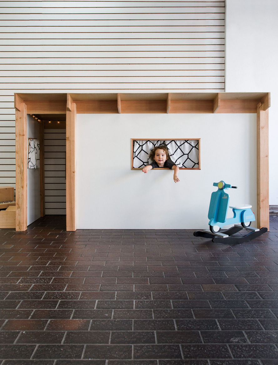 San Francisco childrens kids woodworking studio The Butterfly joint by Danny Montoya with eichler inspired playhouse